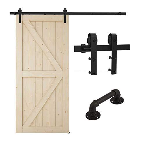 TSMST - Kit de riel para puerta corredera con asa de puerta corredera, kit de riel de puerta de granjero, forma de J