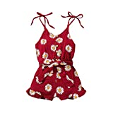 Toddler Girl Clothes Daisy Linen Romper Cami Onesies Jumpsuit Bodysuit Belt Overalls Baby Girl Summer Outfits (Red, 1-2T, 1_year)