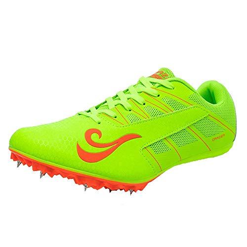 XTZLTY Zapatos De Picos De La Pista, Hombres para Mujer Distancia De Las Zapatillas Deportivas Atlético Sprinting Track Y Zapatos De Carreras De Campo con Espigas para Niños Niñas,Verde,42