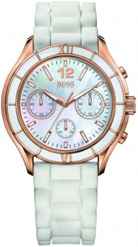 Hugo boss,orologio cronografo da donna,quadrante madreperla, cinturino in silicone 1502274