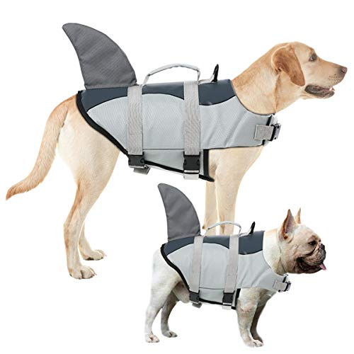AOFITEE Dog Life Jacket Pet Safety Vest, Adjustable Dog Lifesaver Ripstop Pet Life Preserver with Rescue Handle for Small Medium and Large Dogs (Grey Shark, S)