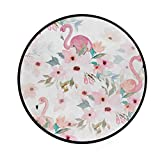 Blueangle Floral Print with Flamingo Round Area Rugs 3 x 3 Feet, Comfy Rugs for Women Bedroom Kids Girls Rooms Nursery Decor Small Throw Area Rug Carpet