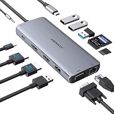 USB C Docking Station Dual Monitor Adapter USB-C Docking Station Triple Display USB C Hub to Dual HDMI,VGA,Ethernet,2USB3.0,2 USB2.0,PD,SD/TF, Audio for Dell XPS 13/15, Lenovo Yoga,HP x360