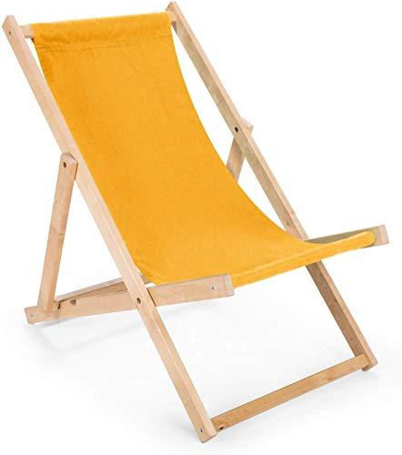 BAS 2 x Liegestuhl aus Holz Klappbar Holzklappstuhl Relaxliege Gartenliege Strandstuhl (Gelb)