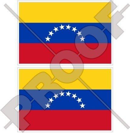 VENEZUELA Zivile Flagge, Fahne (8 Stern, Hugo Chavez) Venezolanisch, SÜDAMERIKA 75mm Auto & Motorrad Aufkleber, x2 Vinyl Stickers