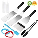 Griddle Accessories Set BBQ Tool Set Flat Top Grill Griddle Accessories Kit Professional Stainless Steel Grilling Tools Cooking Grill Utensils Set Grill Gift for Men Dad Chef Outdoor Camping Birthday
