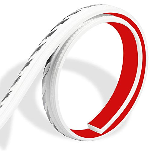 Huaesem 5 Meter Selbstklebende Zierleisten, dekorative Wandleisten, Stuckprofile, Decken-/ und Wandübergang, leicht und stabil, Dekor für Möbel/Tür/Kleiderschrank/Wohnkultur, Weiß & Silber