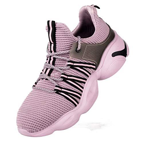 Zapatos de Seguridad Hombre Mujer S3 Punta de Acero Zapatos Antideslizante Ligero de Trabajo Transpirable Morado 41