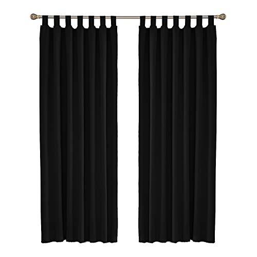 UMI. Essentials - Cortinas Opacas de Salon Termicas Aisantes para Ventana Dormitorio Moderno con Trabillas 2 Piezas 140 x 260 cm Negro