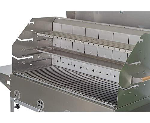 Profi-Grill Barbacoa de carbón vegetal PG 1000 E Catering, barbacoa de acero inoxidable, barbacoa de carbón vegetal, con conector de pescado V2A