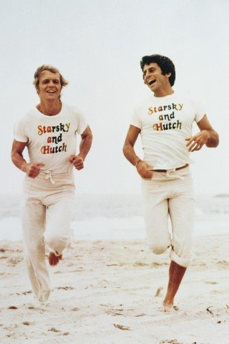 David Soul and Paul Michael Glaser in Starsky and Hutch 24x36 Poster running on beach