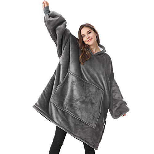 Venustas Wearable Blanket Hoodie, Oversized Sherpa Blanket Hoodie Sweatshirt are Unisex,Cozy Warm Soft, One Size Fits All