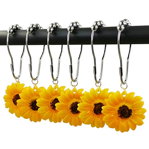 Chenzt Shower Curtain Rings Hooks Decorative Home Bathroom 100% Stainless Steel Rustproof Set Yellow Sunflower Decorative Resin Pendants 12PCS