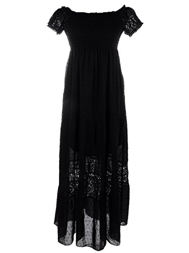 Anna-Kaci Womens Boho Elastic Lace Ruffle Semi-Sheer Long Smocked Maxi Dress, Black, Medium