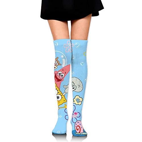 Frauen Oberschenkel Hohe Socken über dem Knie Hoher Beinwärmer Thaddäus Tentakeln und SpongeBob Stiefel Strumpf Extra lange Sport Tube Socken