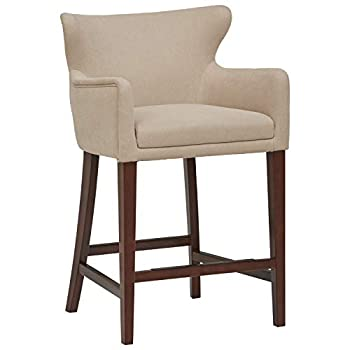 Amazon Brand – Stone & Beam Wickstrom Upholstered Counter-Height Bar Stool with Arms 37 H Fawn