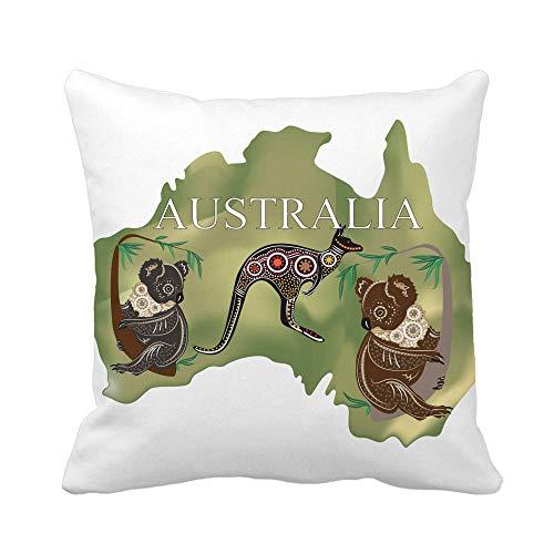 Throw Pillow Cover Fauna Map of Australia Koala Kangaroo Animal Australian Cartoon Funda de Almohada Decorativa para el hogar Funda de Almohada Cuadrada Funda de cojín