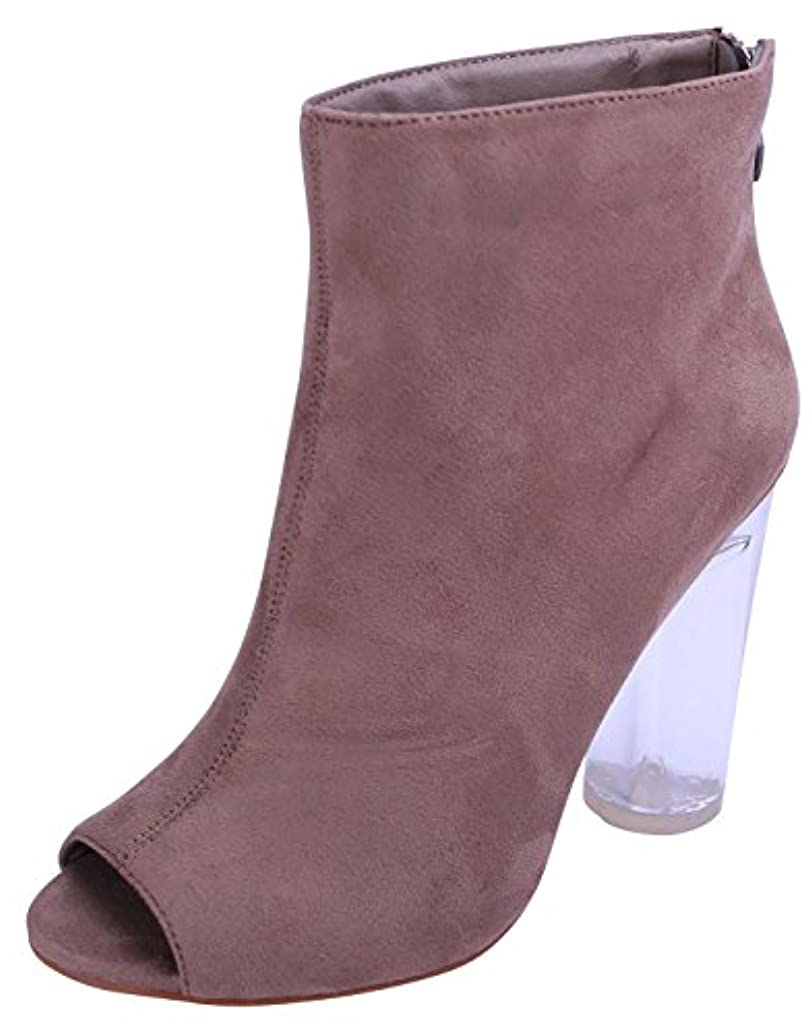 Glaze Women's Peep Toe Clear See Through Lucite Perspex Chunky Heel Ankle Bootie