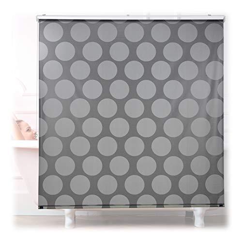 Relaxdays Duschrollo, 160x240 cm, Seilzugrollo für Dusche & Badewanne, Badrollo wasserabweisend, Decke & Fenster, grau