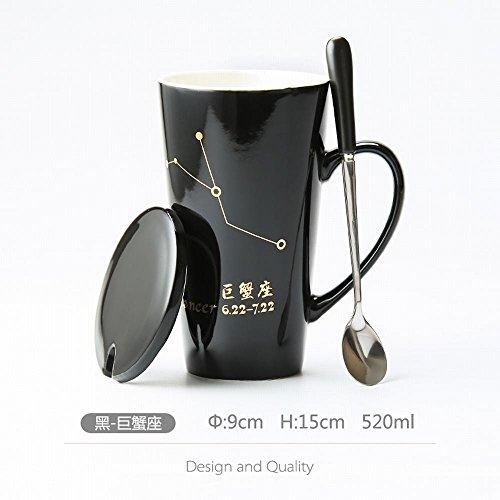 WU-Mug Creative 12 sterrenbeeld beker keramiek beker paard koffie mok office cup deksel lepel een kop thee te drinken, zwart, Jumbo krabben base