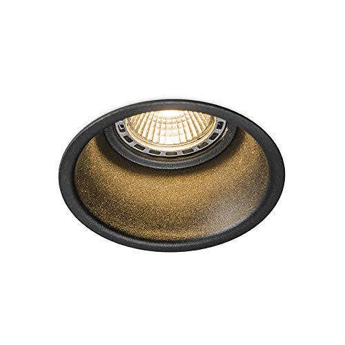QAZQA Design/Modern Runder Einbauspot schwarz - Dept/Innenbeleuchtung/Wohnzimmerlampe/Schlafzimmer/Küche Aluminium Rund LED geeignet GU10 Max. 1 x 50 Watt