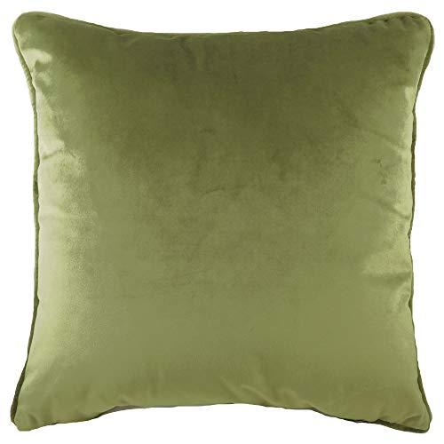 Evans Lichfield Plain Velvet Piped Cushion (Olive, 43x43cm)