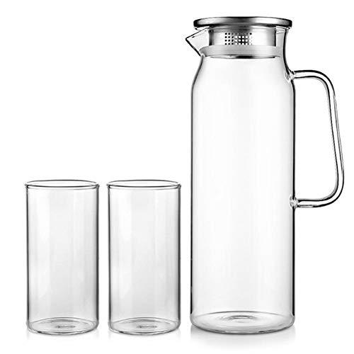 SSSSY Jarra Agua El Vidrio Soluble Olla de Acero Inoxidable colador Mlilk Jarra de Cristal de la Jarra de Bebida Caldera de la Botella de Agua del Vaso de 1,7 litros Jarra for el hogar