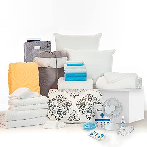 OCM College Dorm Room 24-Piece Complete Campus Pak   Twin XL   with Topper, Comforter, Sheets, Towels, Clip Fan & More   Suri and Gray   Black, Gray, White and Aqua