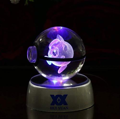 XIAOTAIDENG Night Light 3D Crystal Ball Led Lamp for Pokemon Series Pikachu 5cm Desktop Decoration Light Glass Ball Jigglypuff