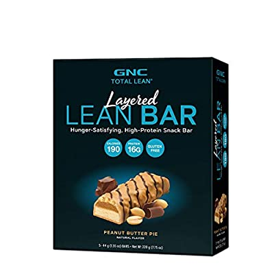 GNC Total Lean Layered Lean Bar - Peanut Butter Pie, 5 Bars, Hunger-Satisfying and High-Protein Snack Bar