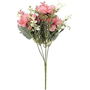 Silk Flower Arrangements LCJD Artificial Flower Silk Freesia Fake Bouquet Desktop Decor Vivid Real Touch Wedding Supplies Home Decoration(Dark Pink)