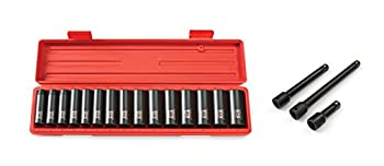 TEKTON 4883 1/2-Inch Drive Deep Impact Socket Set Metric 10 mm - 24 mm 15-Sockets with TEKTON 4971 1/2-Inch Drive Impact Extension Bar Set