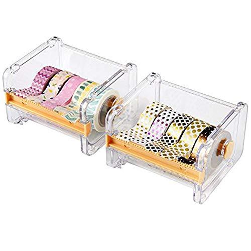 2pcs HomDSim Washi Tape Dispensador Cutter, organizador de cinta de rollo, cinta adhesiva de escritorio DIY cinta adhesiva rollo cortador de cinta de almacenamiento, caja de cinta Washi amarillo