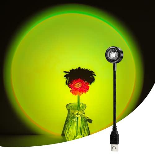 CoMokin Sunset Lamp, 13 Modos Sunset Lamp Projection Lámpara de Sol Colorida , Mini Lámpara de Proyección de Arco Iris, LED de Rotación de 360°luz Romántica USB para Decoración de con Tema de Fiesta