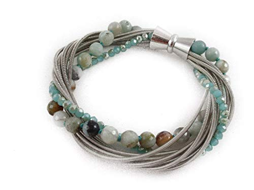 The Island Pearl Stainless Steel Piano Wire Bracelet with Amazonite