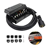 7 Way Trailer Cord with 7 Gang Junction Box - 8 Feet Harness Inline Cord - Weatherproof,Corrosion Resistant - Truck Camper Blade Molded RV Cable Wire Connector Trailer Plug Cord