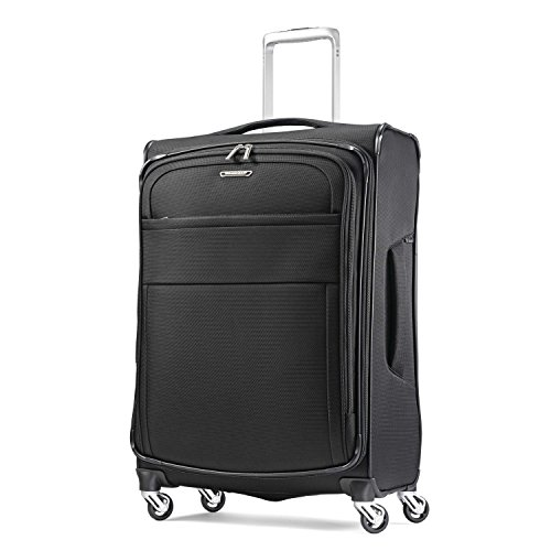 Samsonite Eco-Glide Softside Luggage with Spinner Wheels, Midnight Black, Checked-Medium 25-Inch