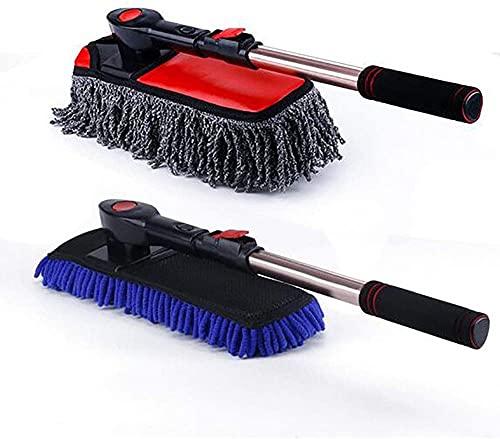 LXNQG Cepillo de lavado de autos CHENILE Cepillo suave de la microfibra Terra de cera de toaleta y cepillo de agua Cepillo de lavado de mango largo retráctil Adecuado para baño, cocina, oficina, colec