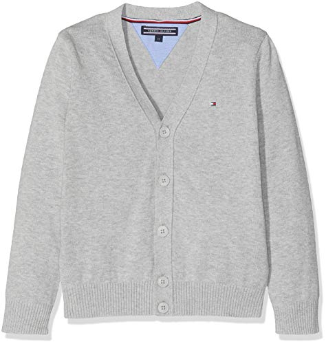 Tommy Hilfiger Jungen Boys Basic V-Neck Cardigan Pullover, Grau (Grey Heather 004), 164 (Herstellergröße: 14)