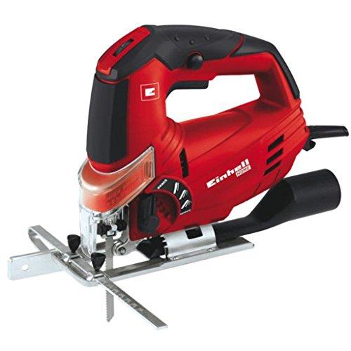 Einhell TH-JS 85 - Caladora electrónica pendular con hoja de sierra para madera y maletín, 620 W, 230 V, color rojo y negro