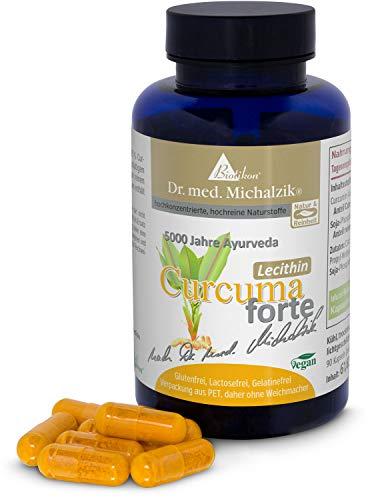 Curcuma Tumeric Lecithin forte nach Dr. med. Michalzik + 427,5 mg reines Curcumin aus 450 mg Curcuma longa Extrakt (95%) +100 mg hochwertigem lecithinhaltigem Phospholipid-Extrakt aus NICHT genmanipuliertem Soja +Anteil reines Phosphatidylcholin 25 mg – je Kapsel + NICHT SYNTHETISCH - REIN NATÜRLICH nachgewiesen mit sicherer C14 ISOTOPEN ANALYSE – FREI VON ZUSATZSTOFFEN - 90 vegane Kurkuma Lecithin Kapseln