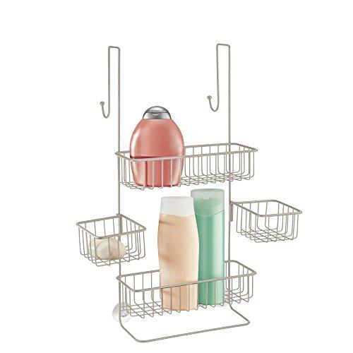 mDesign Duschablage zum Hängen über die Duschtür – praktisches Duschregal ohne Bohren aus Metall – schwenkbare Duschkörbe zum Einhängen für Duschzubehör – silber