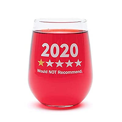 """Funny Wine Glass Gift-""""2020 One Star, Would NOT Recommend"""" - 17 Oz Stemless Wine Glass (2020-1 Star)"""
