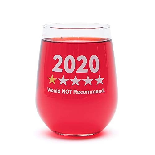 Funny Wine Glass Gift-'2020 One Star, Would NOT Recommend' - 17 Oz Stemless Wine Glass (2020-1 Star)