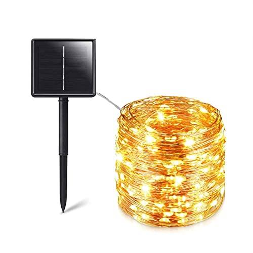 12M100 LED / 5M50 LED guirnalda solar impermeable al aire libre, cadena de luz solar, utilizada para decorar jardines de Navidad, árboles, jardines, terrazas, bodas, fiestas (blanco cálido)