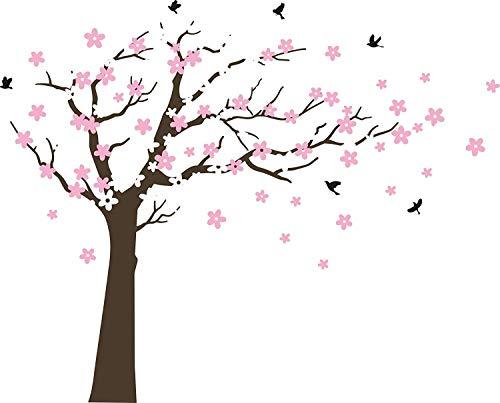 Bdecoll Wandaufkleber Kirschbaum Weiß Baum Wandsticker für Kinder Schlafzimmer/Natur Vögel Art Dekor Heim Bunt aufkleber,Aufkleber/Sticker,Vinyl, für Kinderzimmer (Braun)