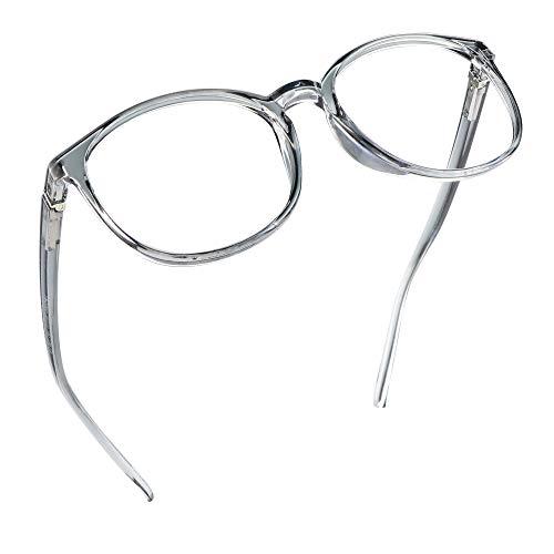 LifeArt Blaue Licht Blockieren Brille, Anti-Augen-Müdigkeit, Computer Lesebrillen, TV Brille für Frauen Männer (Transparentes Grau, Nein Vergrößerung)