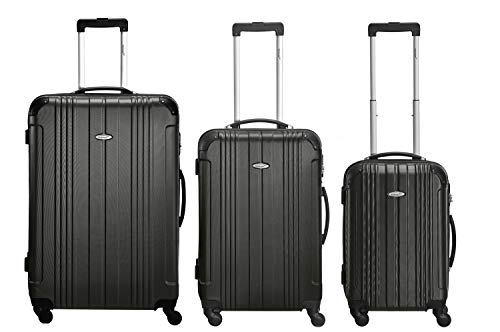 Packenger ABS-Reisekoffer-Set Goliath - Koffer-Set mit Hartschale (3-teilig) M, L & XL mit 4 Rollen und Zahlenschloss (schwarz)