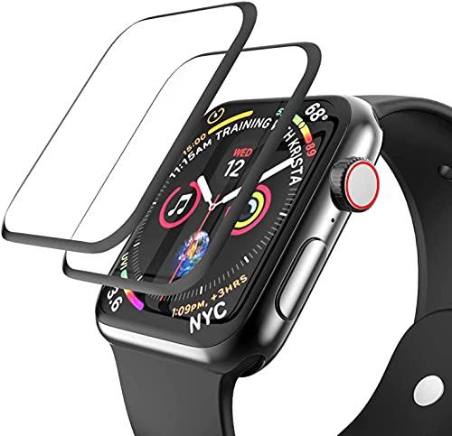 [2 unidades] Protector de pantalla de vidrio templado compatible con Apple Watch Series 6/SE/5/4 1.732in, EWUONU 3D cobertura completa [marco de fácil instalación] impermeable sin burbujas HD película transparente para iWatch de 1.732in