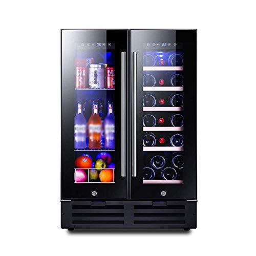 Enfriador de Vino de Doble Zona 116L, Memoria Inteligente/refrigerador de Funcionamiento silencioso/Control de Temperatura táctil para Vino/Bebida/Medicina para el hogar/Oficina
